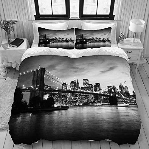 SmallNizi Funda nórdica, Puente de Brooklyn y Manhattan al Atardecer Nueva York, Juego de Ropa de Cama Juego de Fundas de edredón de poliéster de Lujo Ultra cómodo y Ligero