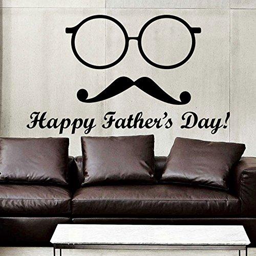 Tianpengyuanshuai Wandtattoos Happy Father's Day Schnurrbart Brille Vinyl Wandaufkleber Dekoration Wohnzimmer Schlafzimmer Haus Dekoration 102x59cm