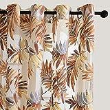 PENVEAT Tropical Leaves Gardinen für Wohnzimmer Schlafzimmer Gedruckte dekorative Vorhänge Tüll für Fensterbehandlungen Voile, Braun, W100 x H270cm, Rings Top
