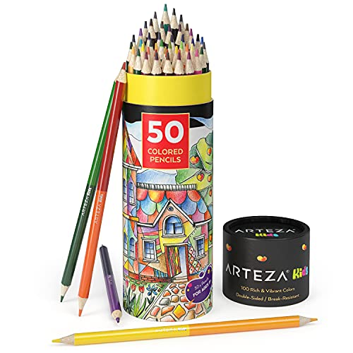 Arteza Kids Colored Pencils, 100 Colors, 50 Double-Sided Pencil Crayons, Pre-Sharpened, Art and School Supplies for Drawing and Doodling