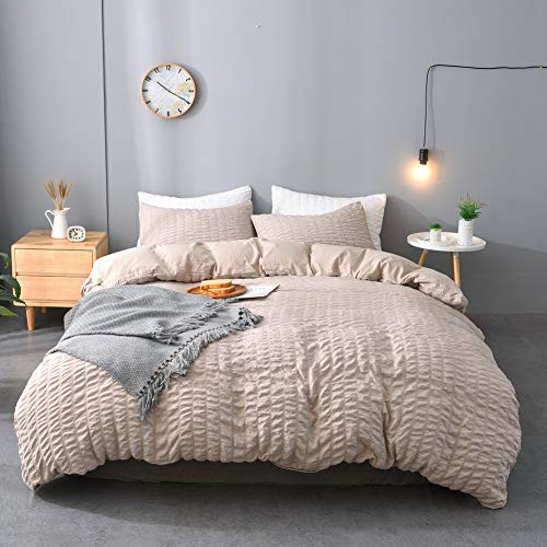 M&Meagle 2 Pieces Khaki Duvet Cover Textured Set with Zipper Closure,100% Washed Microfiber Seersucker Fabric,Luxury Hotel Quality Bedding-Twin Size(1 Duvet Cover 1 Pillowcase)