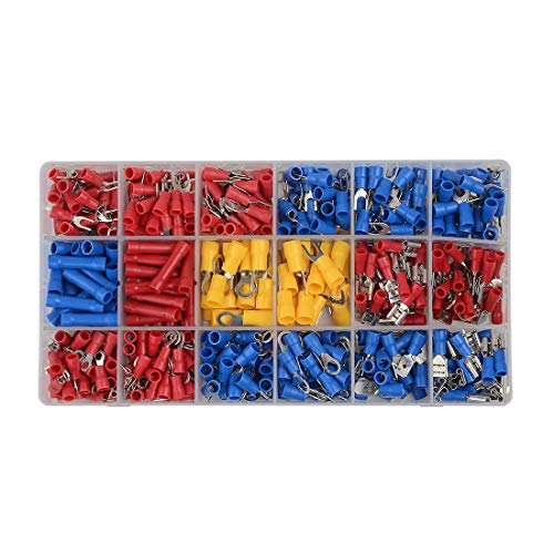 Wolfwhoop 520PCS Heat Shrink Wire Connectors, Waterproof Automotive Marine Electrical Terminals Kit, Crimp Connector Assortment, Ring Fork Hook Spade Butt Splices