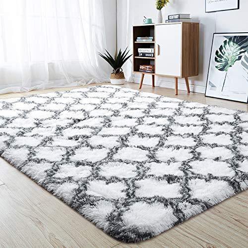 junovo Soft Area Rugs Fluffy Modern Geometric Rugs for Bedroom Living Room, Shaggy Floor Carpets Large Indoor Mat for Girls Kids Teen's Room Nursery Home Decor, 5ft x 8ft, White