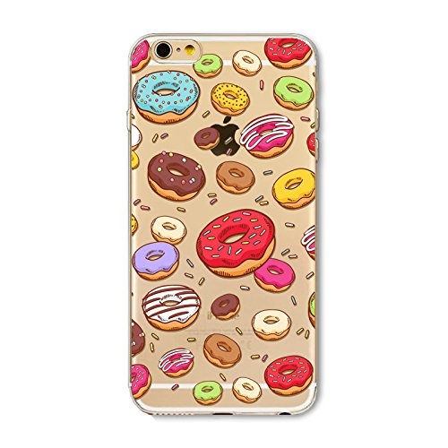 Blingy's iPhone SE (2020) Case/iPhone 8 Case/iPhone 7 Case(4.7inch), Food Style Transparent Clear Flexible TPU Protective Case Compatible for iPhone SE (2020)/iPhone 8/iPhone 7 (New Various Donuts)