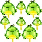 8 Pieces Frog Foil Balloons Include 4 Large Inflatable Air Balloon and 4 Mini Green Frog Mylar Balloons Animal Themed Party Decoration for Wedding Birthday Baby Shower School Party Supplies, 2 Sizes