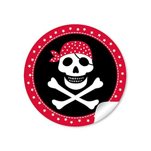 24 STICKER: 24 Geschenkaufkleber PIRAT mit Totenkopf (A4 Bogen) in Rot/Schwarz Kindergeburtstag für ein Junge • Papieraufkleber/Sticker/Aufkleber/Etiketten (Format 4 cm, rund, matt)