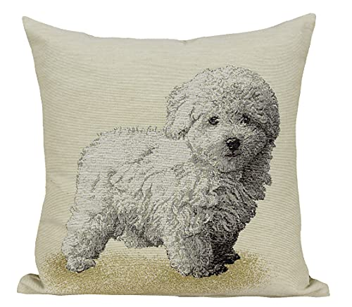 Amber Textile Tapestry Throw Pillow Cover with Woven Dog Image - 18 x 18 in Decorative Cushion Case with Hidden Zipper for Home Decor, Couch, Sofa - Poodle