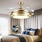Ventilador De Techo Con Luz, Con Control Remoto Tiempo De Aluminio Ultra Tranquilo Techo De Aluminio 107cm, 36W Creative Invisible Fan LED Láquilidad (Color : Gold)