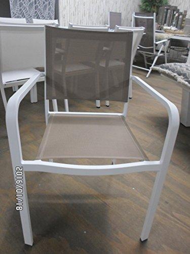 Lesli Living Stuhl Stapelstuhl Modell Breeze 84,5 cm Design exklusix weiß/Taupe