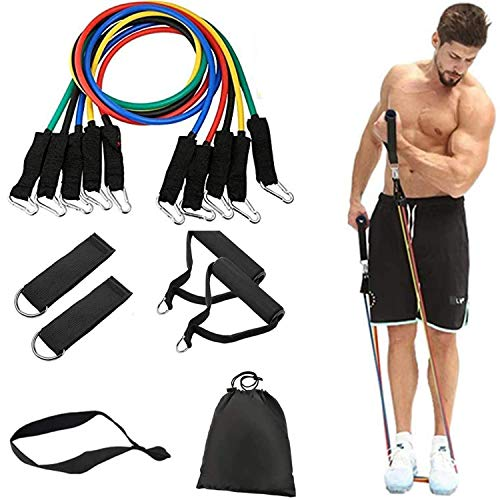 St Mege 11 Pack Resistance Bands SetIncluding 5 Stackable Exercise Bands with Door Anchor2 Foam Handle2 Metal Foot Ring amp Carrying Case  Home WorkoutsPhysical TherapyGym TrainingYoga