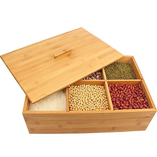 ZWL Boîte de rangement de grain, solide boîte de riz de stockage de céréales de boîte de riz de céréale antiparasitaire préservant l'humidité la boîte de rangement de grain de ménage de cuisine 40 * 27.7 * 13CM Récipient sain de stockage de céréales ( Capacité : 15KG )