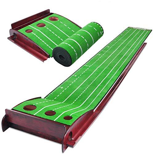 Champkey TWPG Tri-Hole Golf Putting Green   Natural Wooden Golf Putting Mat   Premium Velvet Surface...