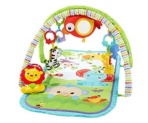 Fisher-Price - Rainforest-Freunde 3-in-1 Spieldecke, tragbare Baby Krabbeldecke inkl. abnehmbaren Spielzeugen, ab Geburt