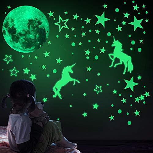 466Pcs Einhorn Wandtattoos Leuchtende, im Dunkeln Leuchten wandsticker fluoreszierend,leuchtsticker,aufkleber leuchtend selbstklebend,leuchtaufkleber,leuchtende sterne,leuchtmond kinderzimmer