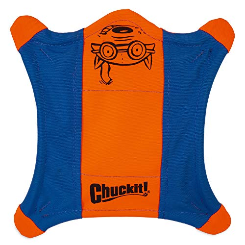 ChuckIt! Flying Squirrel Spinning Dog Toy, Large (Orange/Blue), Multi, Large (11 in x 11 in)
