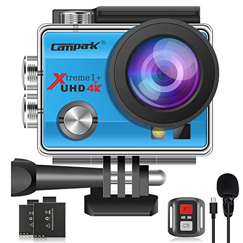 【Upgrade】 Campark 4K 20MP Action Camera EIS External Microphone Remote Control WiFi Waterproof Camera Webcam with 170° Wide Angle and 2 Batteries(Blue)