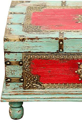 Orientalische Truhe Kiste aus Holz Arjuna Rot - 47cm groß | Vintage Sitzbank mit Aufbewahrung für den Flur | Aufbewahrungsbox mit Deckel im Bad | Betttruhe als Kissenbox oder Deko im Schlafzimmer - 4