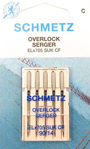 Schmetz 5 Agujas para Máquinas de Coser Overlock ELx705 SUK CF Grosor 90/ 14