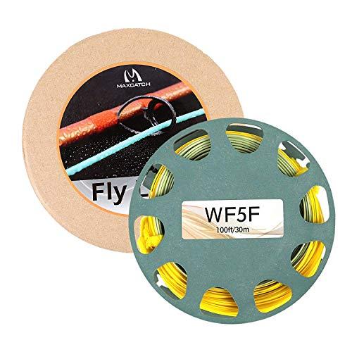 MAXIMUMCATCH Gold/Moss Fliegenschnur 100ft 2F-9F Schwimmende mit 2 Schlaufen (WF6F)