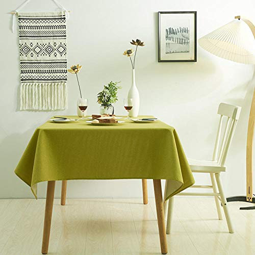 XIAOBAO Tablecloth wipe clean,Pure color fabric dining table, water-proof coffee table table cloth tarp-yellow-green_140*260cm,Square Wipeable Faux Table