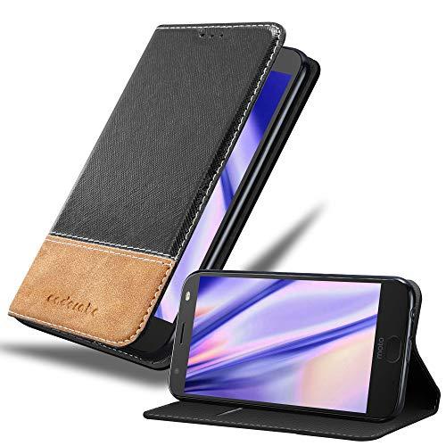 Cadorabo Hülle für Motorola Moto X4 - Hülle in SCHWARZ BRAUN – Handyhülle mit Standfunktion & Kartenfach aus Einer Kunstlederkombi - Case Cover Schutzhülle Etui Tasche Book