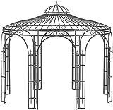 ELEO Florenz wunderschöner Gartenpavillon Winterfest mit 2 x Rankgitter Rosa I Rundpavillon Roh Edelrost Ø 3,7 m I Romantischer Rosenpavillon aus Schmiedeeisen I Pavillon für Garten