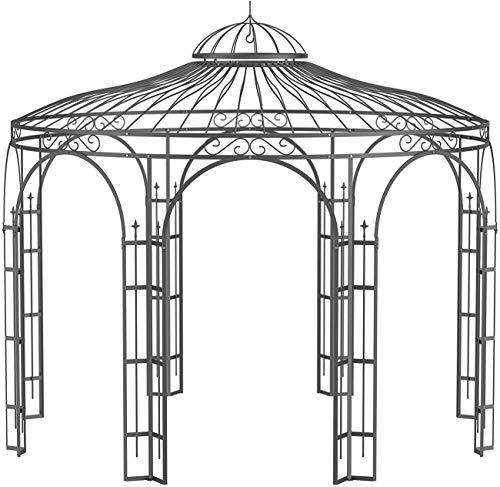 ELEO Florenz wunderschöner Gartenpavillon Winterfest I Stabiler Rundpavillon Anthrazit Ø 3,7 m I Romantischer Rosenpavillon aus Schmiedeeisen I Pavillon für Garten