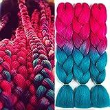 SONNET Ombre Braiding Hair Kanekalon 3bundles/lot 300g Colored Hair Extension Jumbo Braid Hair Box Twist Crochet Braiding Hair(Peach-Red/Lake-Blue)