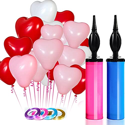 100 Heart Shaped Balloons Assorted Colors,2 Balloon Hand Pump,gold blue pink Purple 4 Random Ribbon,Multicolor Rainbow Latex Balloons arch kit Decorations for Birthday Party Supplies,Anniversary