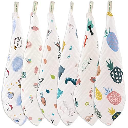 Juego de paños de muselina para bebé (6 unidades), 6 capas, 100% algodón natural, ideal para pieles sensibles y bebés, toallitas reutilizables, multiusos de 30 x 30 cm (cuadrado)