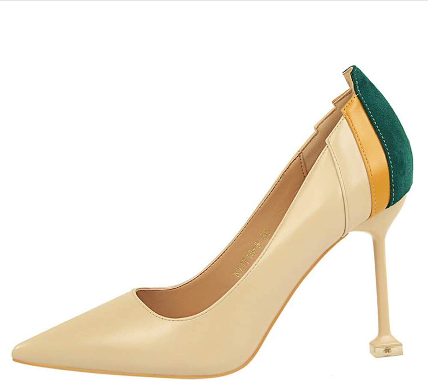 shoes Court shoes Women's shoes High HeelFashion Simple Female Fine Heel Shallow Mouth Pointed Mixed colors Sexy shoes Haiming (color   Nude color, Size   39)