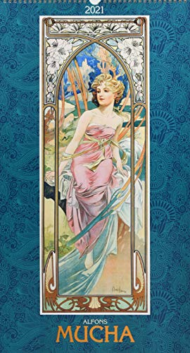 Alfons Mucha 2021 - Bild-Kalender 33x60 cm - Kunstkalender - mit stilvollem Glitzereffekt - Jugendstil - Wandkalender - Alpha Edition