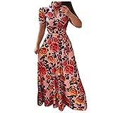 VCAOKF Vestido de verano para mujer, informal, de manga corta, con estampado de flores, con bolsillos, tallas S-XXL gris M-36/38/40