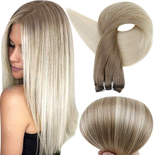 Full Shine Real Hair Weft Bundles Remy Weft Hair Extensions Balayage Weave In Hair Extensions Color 8 Fading to 60 Platinum Blonde Sew In Hair Extensions 20 Inch 100 Grams