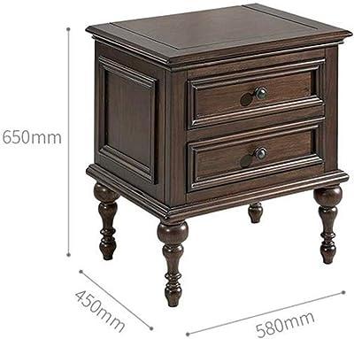 ナイトテーブル スモールキャビネット収納引き出し収納キャビネットソリッドウッドベッドサイドテーブルベッドルームレトロローキャビネットベッドサイド どの部屋にも適しています (Color : Brown, Size : 58x45x65cm)