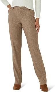 Lee Women's Wrinkle Free Relaxed Fit Straight Leg Pant, Dark Earth, 18 Short Petite