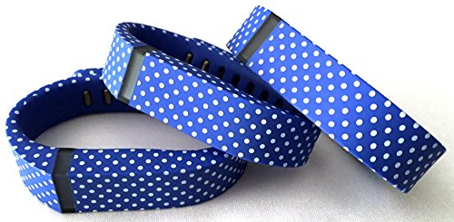 3pcs Small S Blue with White Dots Spots Replacement Bands With Clasp for Fitbit FLEX Only /No tracker/ Wireless Activity Bracelet Sport Wristband Fit Bit Flex Bracelet Sport Arm Band Armband
