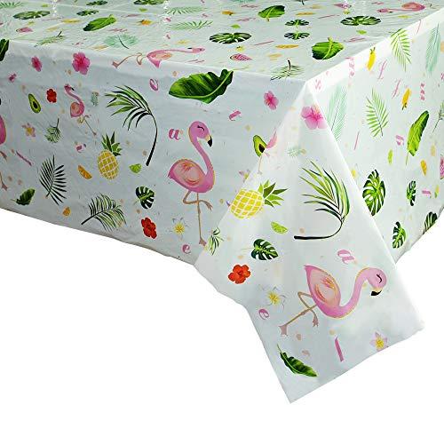 WERNNSAI Flamingo Tischdecke - 2 PCS 110 x 180cm Tropical Einweg Tischtuch aus Kunststoff, Party Zubehör für Kinder Wüste Picknick Geburtstag Partydekorationen