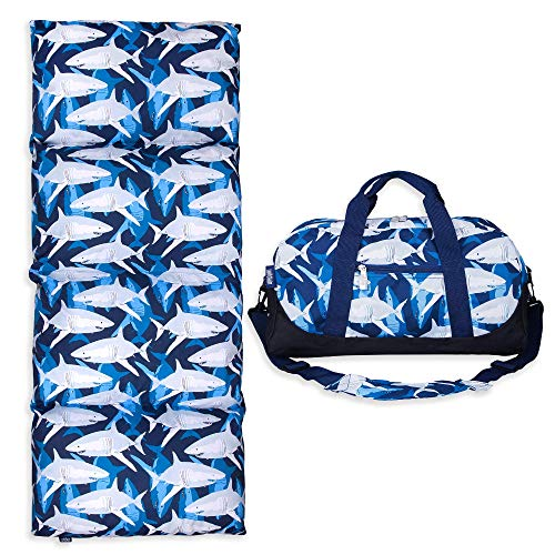 Wildkin Kids Overnighter Duffel Bag Bundle with Pillow Lounger for Boys & Girls, Perfect Combination for School, Travels and Sleepovers, Ideal for School Practice Duffel Bags, BPA-free (Sharks)