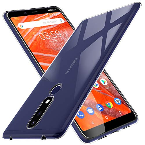KuGi. per Cover Nokia 3.1 Plus, Custodia Trasparente Silicone Cover Morbida TPU Caso, Anti Scivolo& Anti-Urto Case Disegnato per Nokia 3.1 Plus - Crystal Clear