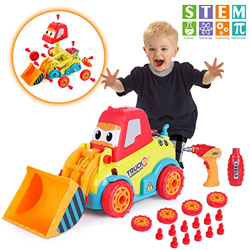 VATOS Take Apart Car, STEM Toys for 3 -4 -5 Years Old Boys & Girls, Construction Toys with Sounds, Lights & Drill Tool, Build Your Own Car Kit, Toy Cars for 3+ Year Old, DIY Assembling Bulldozer Toy