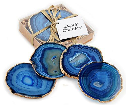 Fossil Gift Shop Untersetzer, aus Achat, mit vergoldetem Rand, Blau, 4 Stück