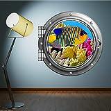 Liuxz Etiqueta de la Pared Acuario A Todo Color Fish Sea Porthole Pegatina DE Pared Dormitorio CALCOMANÍA DE BAÑO