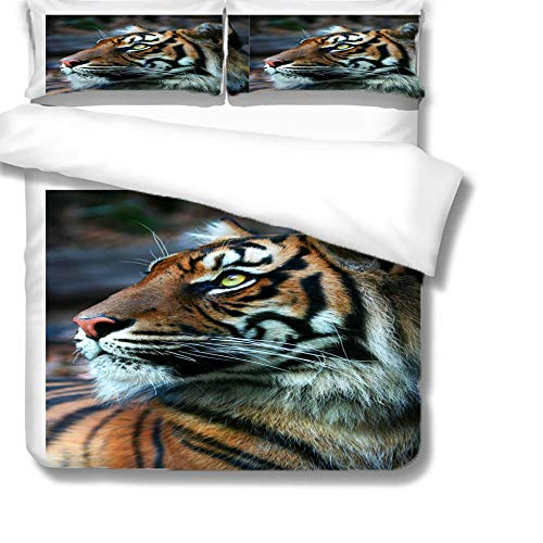 Double Bedding Duvet Cover 3D Animal tiger Printed Quilt Cover Super Soft Quilt Cover 220x230cm with 2 Pillowcase 50x75cm for girls adults