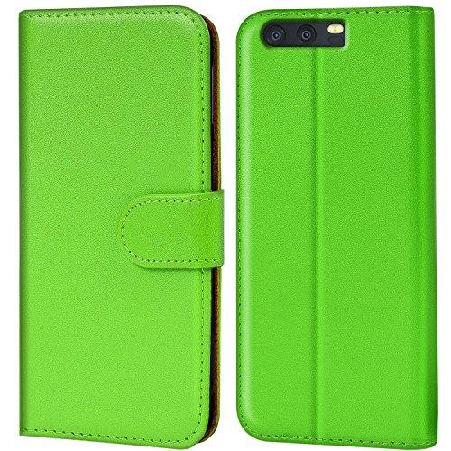 Verco P10 Hülle, Handyhülle für Huawei P10 Tasche PU Leder Flip Hülle Brieftasche - Grün
