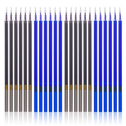 Kesote 24 Repuestos de Tinta Recambios de Bolígrafos de Tinta de Gel Punta de 0,5 mm (12 Negro y 12 Azul)