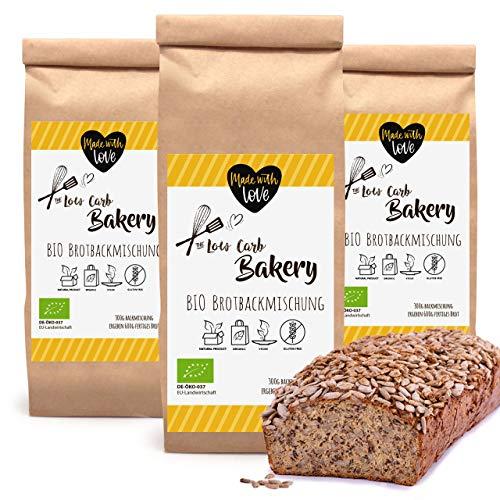 3x Low-Carb Backmischung, Eiweißbrot Keto, paleo und Low Carb Ernährung ohne Getreide, ohne Gluten ohne Soja