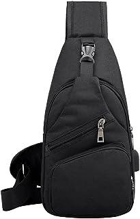 Bolsa de lona esportiva casual masculina com porta de carregamento USB e alça tiracolo