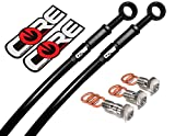 Core Moto Brake Lines for Honda Grom (Non-ABS) 2016-2019 Front and Rear Black Braided Stainless Steel Kit by Sixty61
