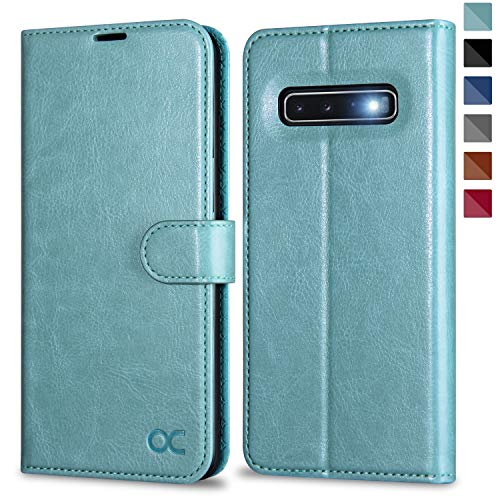 OCASE Galaxy S10 Hülle Handyhülle [Premium Leder] [Standfunktion] [Kartenfach] [Magnetverschluss] Schutzhülle für Samsung Galaxy S10 Tasche Minzgrün